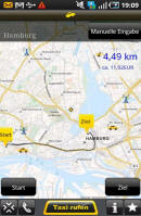 Screenshot der App der Taxizentrale Solingen